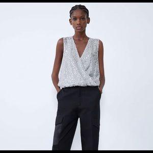 Zara sequin bodysuit large NWT